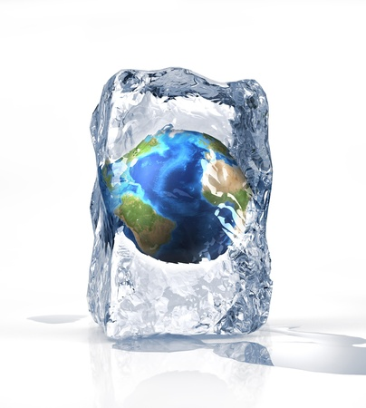 frozen drink: Earth globe into an ice brick standi on a white surface, with some water pool. On white background.