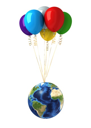 Planet earth lifted by a bunch of flying multicolors balloons. On white background, with clipping path included. photo