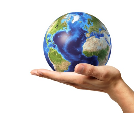 Man hand with earth globe on it. On white background, with clipping path included.