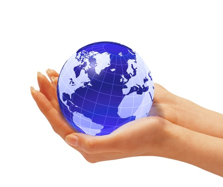hand holding globe: Womans hands holding the earth globe. On white background. Clipping path included Stock Photo