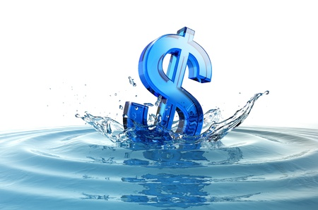 money border: us dollar sign falling into water with splash Stock Photo