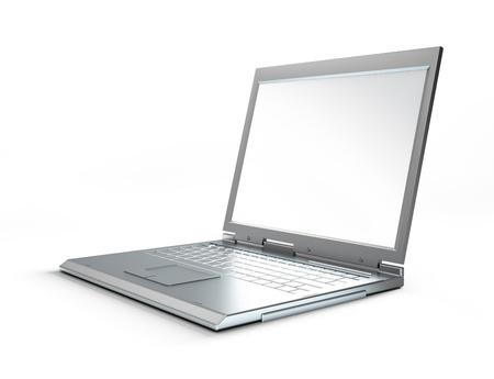 Laptop on white background.