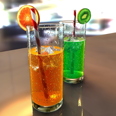 two glasses on a table with droplets, colored liquids, straws, ice cubes and fruits Stock Photo