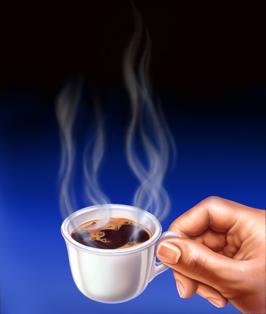 man close up: Espresso cup, held by a man hand. Close up airbrush illustration. Smoke is coming up from the cup.