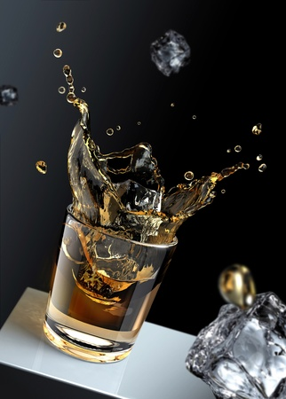 3D rendering of an ice cube splashing in a glass full of liquid photo