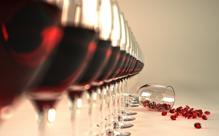 tasting: Row of red wine glasses, with one of them felt down on floor, with many ruby stones coming out of it