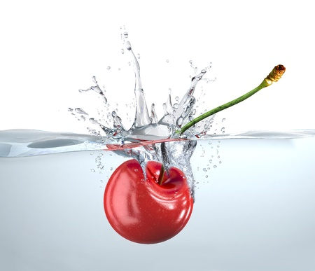 fruit in water: Red cherry falling into clear water and splashing. Close up view.