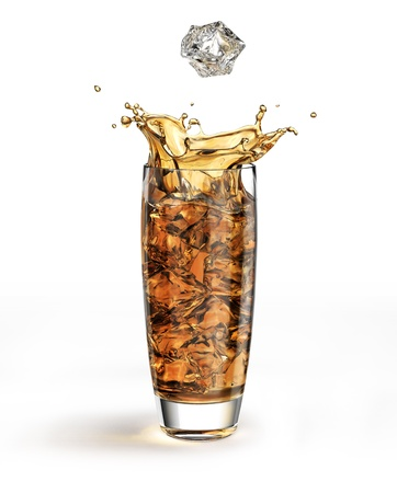 Ice cube falling into a tall glass full of brown liquid and other cubes, splashing. Stock Photo - 11779841