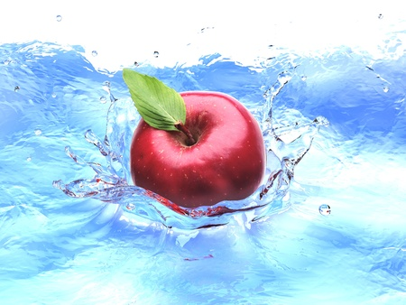bird eye view: Red apple with leaf, splashing into water. bird eye view. Stock Photo