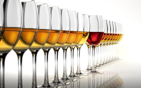Row of many white wine glasses, with a red one standing out in the middle. On a white reflective surface and white background.