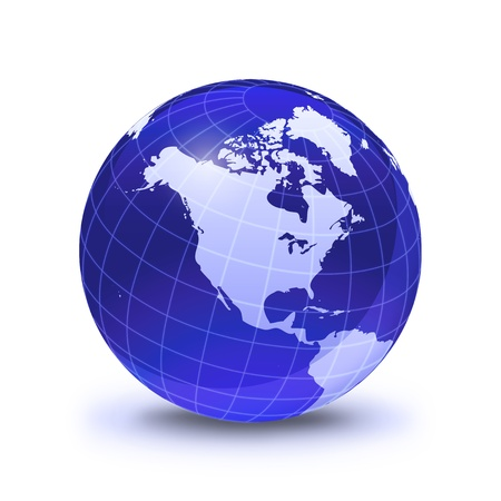 globe grid: Earth globe stylized, in blue color, shiny and with white glowing grid. On white surface with dropped shadow. North America view. Stock Photo