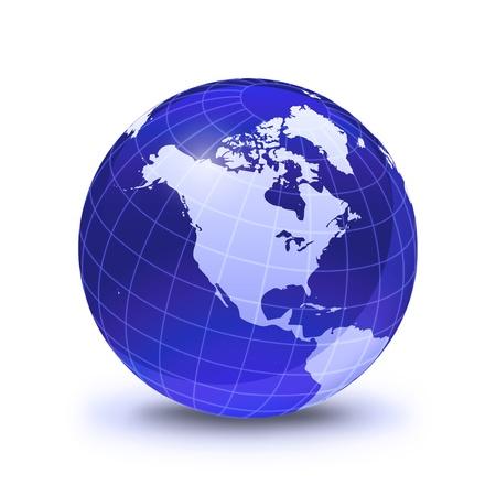 continente: Globo terráqueo estilizado, en color azul, brillante y resplandeciente con rejilla blanca. En la superficie de blanco con la sombra cayó. América del Norte Vista. Foto de archivo