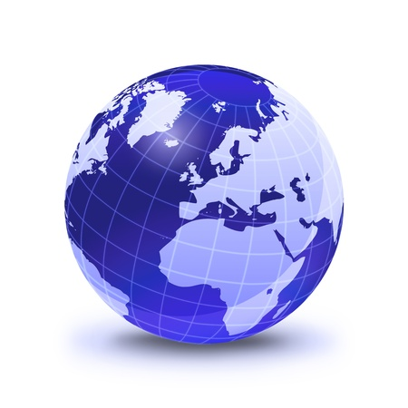 globe grid: Earth globe stylized, in blue color, shiny and with white glowing grid. On white surface with dropped shadow. Europe view.
