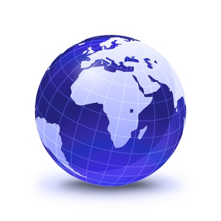 Earth globe stylized, in blue color, shiny and with white glowing grid. On white surface with dropped shadow. Africa view. photo