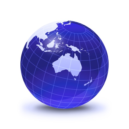 Earth globe stylized, in blue color, shiny and with white glowing grid. On white surface with dropped shadow. Oceania view. Stock Photo - 11779764