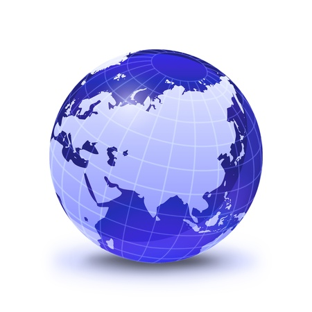 globe grid: Earth globe stylized, in blue color, shiny and with white glowing grid. On white surface with dropped shadow. Asia and East Europe view.