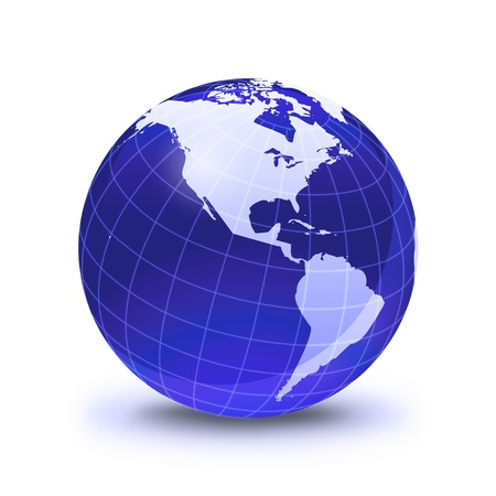 globe grid: Earth globe stylized, in blue color, shiny and with white glowing grid. On white surface with dropped shadow. Pacific Ocean view.