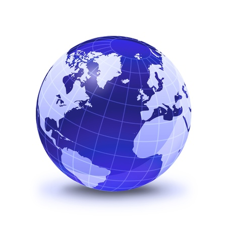 latitude: Earth globe stylized, in blue color, shiny and with white glowing grid. On white surface with dropped shadow. Atlantic Ocean view.