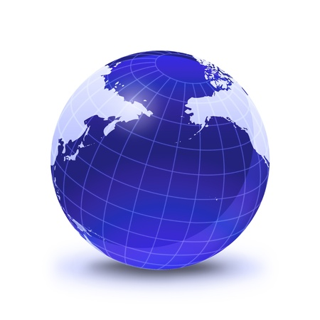 Earth globe stylized, in blue color, shiny and with white glowing grid. On white surface with dropped shadow. Indian Ocean view. photo