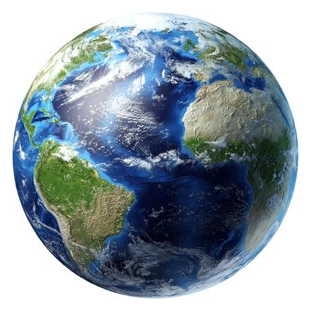 일부 구름과 행성 지구. 미주, 아프리카와 유럽 부분적으로 볼 수 있습니다 대서양보기. 클리핑 패스와 함께 흰색 배경에 사실적인 3 차원 렌더링합니