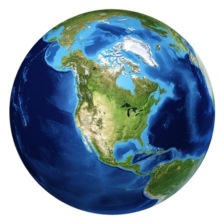 Planeta tierra, realistas en 3 D de representación. América del Norte Vista. Sobre fondo blanco.