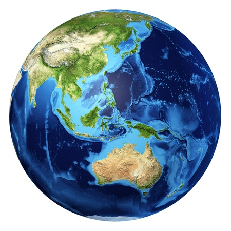 Earth globe, realistic 3 D rendering. Oceania view. On white background. photo