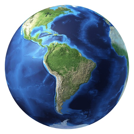 Earth globe, realistic 3 D rendering. South America view. On white background.