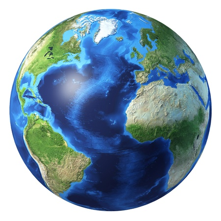 3 d illustrations: Earth globe, realistic 3 D rendering. Atlantic ocean view. On white background.