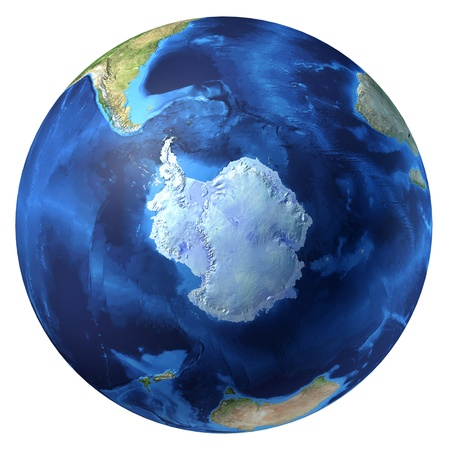 south pole: Earth globe, realistic 3 D rendering. Antarctic (south pole) view. On white background.