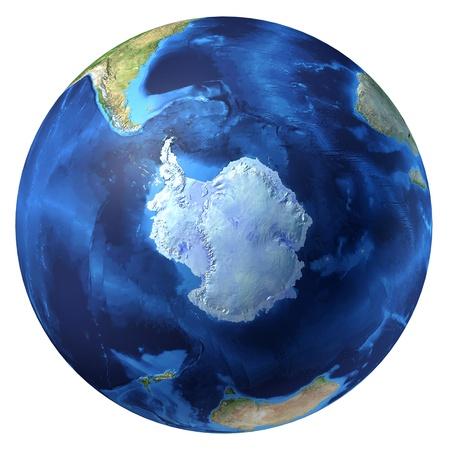 polo: Planeta tierra, realistas en 3 D de representación. Antártida (polo sur) vista. Sobre fondo blanco.