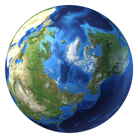 blue earth: Earth globe, realistic 3 D rendering. Arctic view (North pole). On white background.