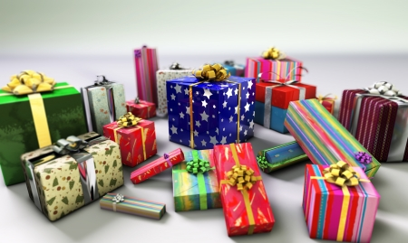 emphasized: Group of gifts spread on a white surface, with one of them emphasized in the middle  Stock Photo