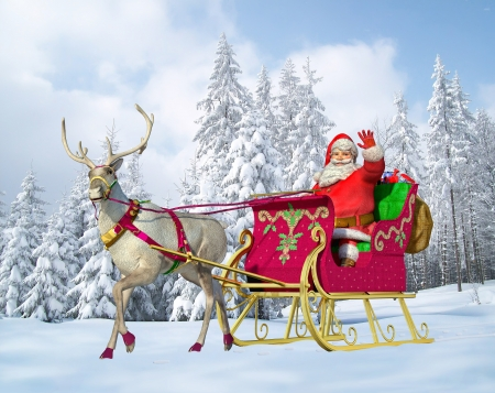Santa Claus on his sleigh and reindeer on snow, with snow capped trees on background.