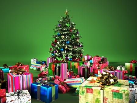 Christmass tree with several gifts, on a green background. photo