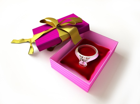 jewel box: Gift package, with ribboned open cup, with ring and diamond on a pillow inside.