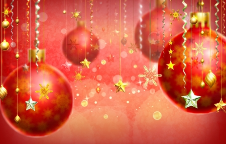 Christmas abstract background with several decorations hanging down on the foreground and a few balls out of focus  Red dominant color  photo