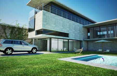 car garden: Modern luxury villa with swimming pool  Very stylish architecture, made of concrete and glass  Stock Photo