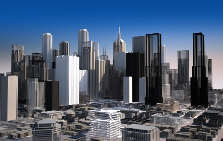 3 d illustrations: Modern cityscape in daylight  Close-up view  Buildings are rendered as they are a scale model