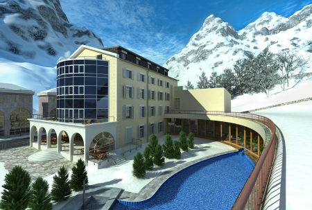 Hotel in mountain with snow and a pool  Snowed mountains on the background  photo