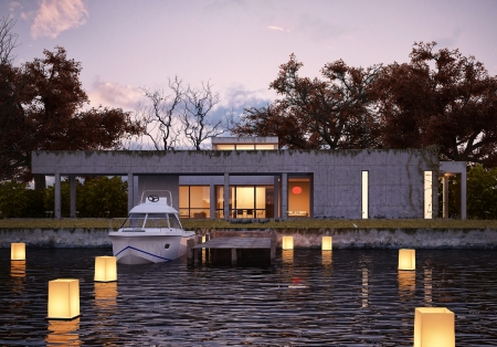 Luxury modern house on water at sunset, with private peer and yacht  Glowing lights floating on water give spacial atmosphere  3 D rendering, indistinguishable from photograph  photo
