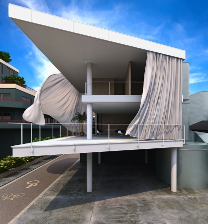 Modern house exterior with curtains blowing in the wind, In town street  photo