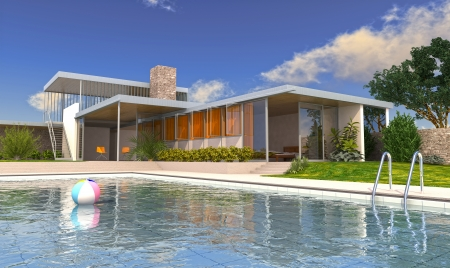 exteriors: Modern house with swimming pool in daylight, with blue sky and fluffy clouds on background  Stock Photo