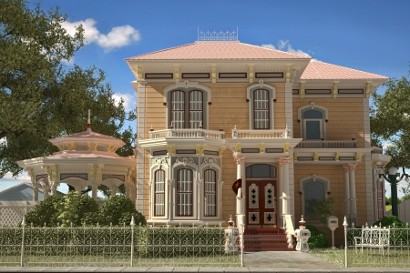 gazebo: Luxury Victorian style house exterior  Frontal view, with gazebo and garden