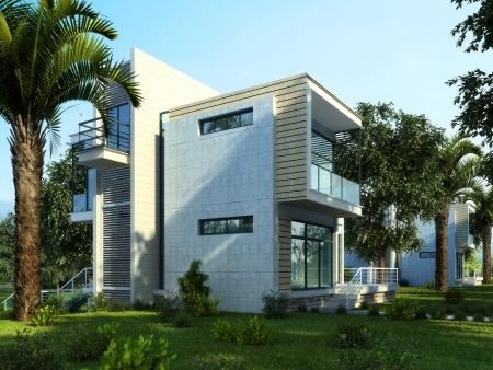 Modern building exterior with garden and trees  Reklamní fotografie