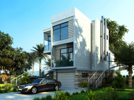 luxury house: Modern building exterior with garden and trees  With a car parked  Stock Photo