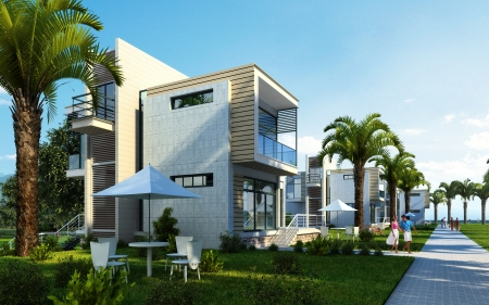 Modern building exterior with garden, palms and trees, in a summer scene  Some people are around, too