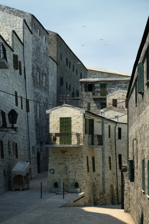 Tuscany old town detail  Group of stone made houses on street  photo
