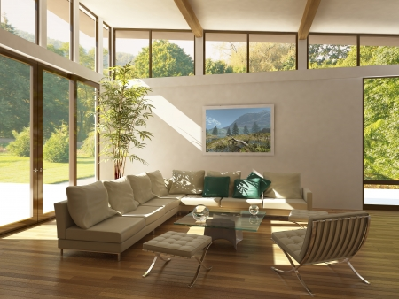 interior design living room: modern living-room with large windows, wooden floor and plant. Green and trees outside.