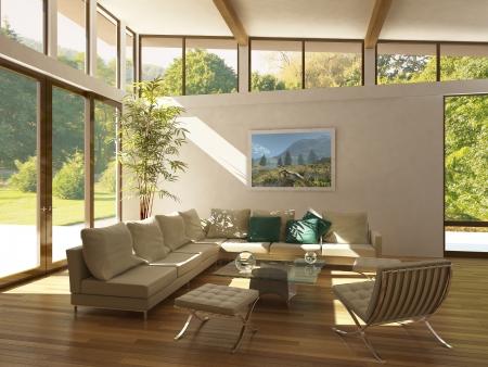 woonwijk: moderne woonkamer met grote ramen, houten vloer en plant. Groen en bomen buiten.