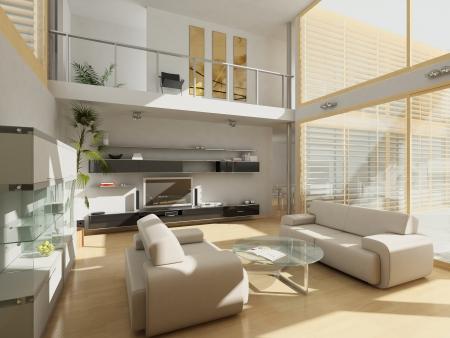 chambre luxe: Modern living-room avec de grandes fen�tres.